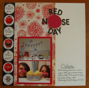 Scrapbook layout: Red Nose Day Cakes