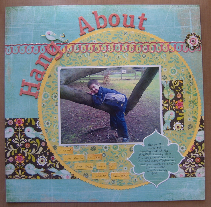 Scrapbook layout titled 'Hang About'