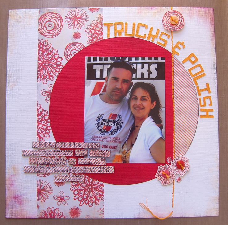 Scrapbook layout titled 'Trucks & Polish'