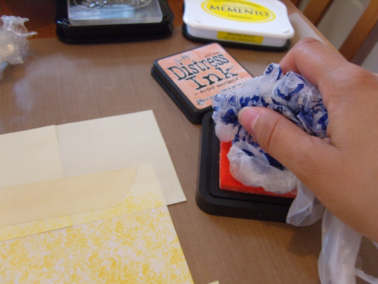 Stamping with a supermarket bag